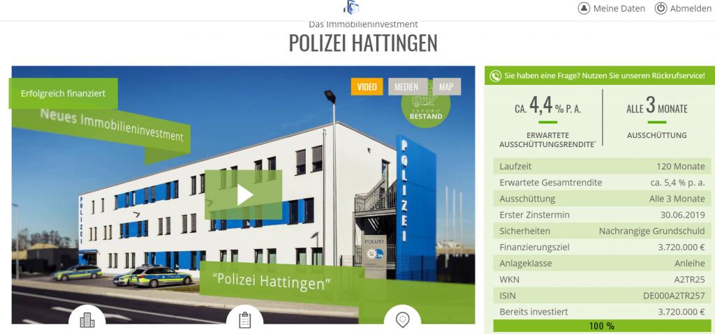 """Das Immobilieninvestment"""" POLIZEI HATTINGEN"""" von Exporo"""